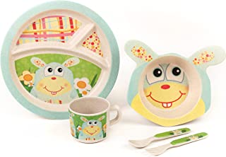 Bamboo Kids Meal Set | Plate Set | Toddler Dinner Set | Eco-Friendly Bamboo Dishes | Food-Safe Feeding Set for Toddlers and Little Kids | Boys and Girls | Bunny Character by Green Frog Friends
