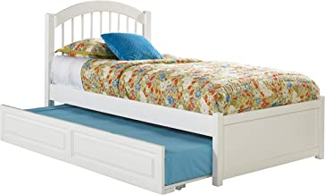Atlantic Furniture Windsor Platform Bed with Twin Size Urban Trundle, Full, White