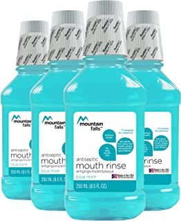 Mountain Falls Antiseptic Blue Mint Mouthwash, ADA Accepted Antiplaque, Antigingivitis Oral Rinse for Fresher Breath, 8.44 Fluid Ounce (Pack of 4)
