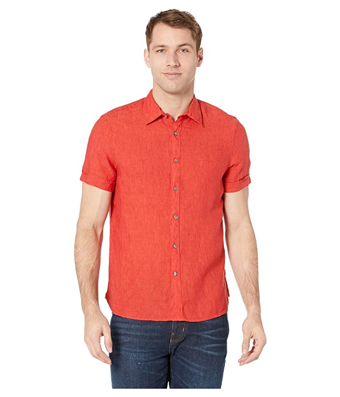 Perry Ellis  Short Sleeve Solid Linen Shirt (Haute Red) Mens Clothing