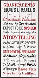 P. Graham Dunn Grandparents House Rules Inspirational Wooden Decorative Wall Art Plaque