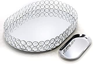 Lindlemann Mirrored Crystal Vanity Tray - Ornate Decorative Tray for Perfume, Jewelry and Makeup (Oval, 14 x 10 inches, Silver)
