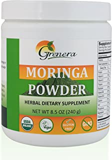 Grenera Organic Moringa Leaf Powder 8.5 Ounce - USDA, Kosher, Vegan Ceritified Moringa Powder