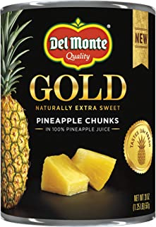 Del Monte Canned Gold Pineapple Chunks In 100% Pineapple Juice, 20 Oz, Pack of 12