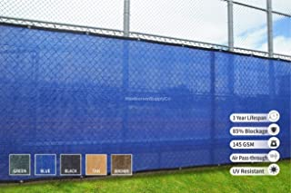 WindscreenSupplyCo Heavy Duty Fence Privacy Screen 6ft x 50ft, Chain Link Fence Cover, Shade Cloth with Grommets, Blue