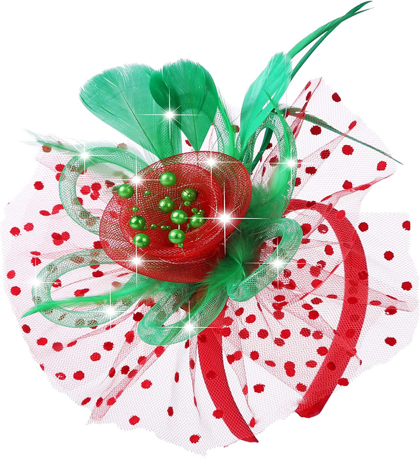 4BetterLife Light up Fascinators Hat Headwear Shining Red and Green Christmas Fascinator Hats for Women Feather Mesh Tea Party Headband Lighting Hair Clip