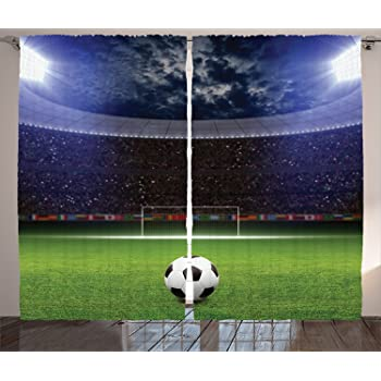 """Ambesonne Sports Curtains, Soccer Ball on Stadium Arena in The Night Fans Cheering Green Field, Living Room Bedroom Window Drapes 2 Panel Set, 108"""" X 84"""", Navy Blue"""