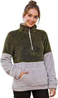 Les umes Women's Stand Collar Zipper Fleece Pullover Color Block Casual Loose Sweatshirts Sherpa Outwear with Pockets