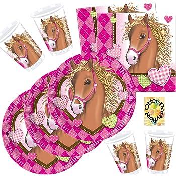 Pferde /& Ponys Kinder Geburtstagsparty Dekoration Teller Becher Girlanden etc