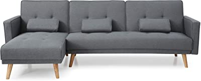 Amazon.com: UrbanMod Modern Reversible Sectional Sofa Gray ...