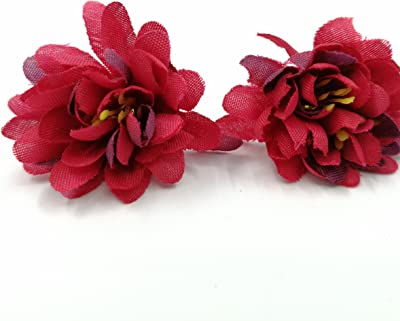 Artificial Flower Roses Wedding Decoration Festive Decoration Party Decorative Carnation Flower Head 60PCS 3CM (red