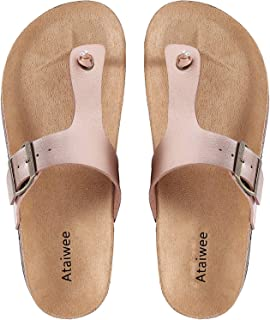Ataiwee Womens Flat Sandals Comfortable Casual Slip On Flip Flop Thong Sandals Summer Shoes.