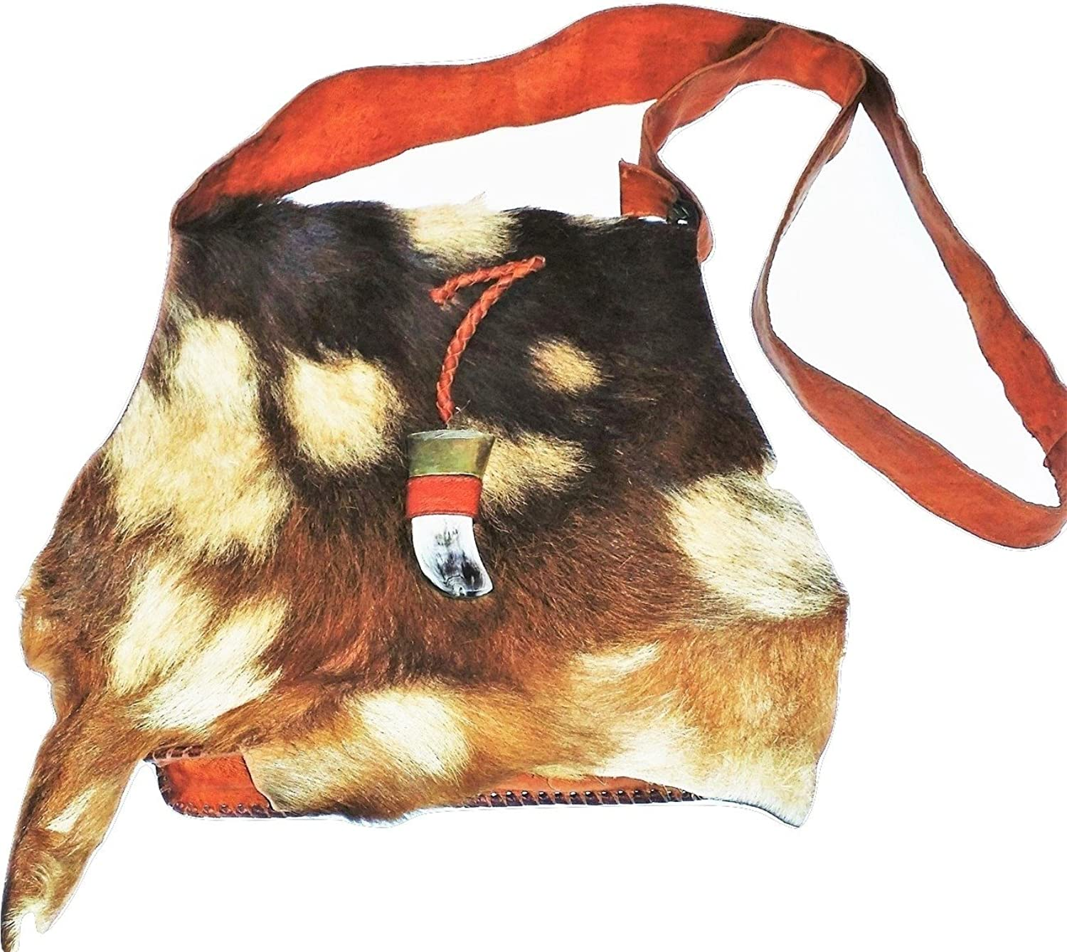 Boho Mgoldccan Leather Bag with Goat Fur Flap