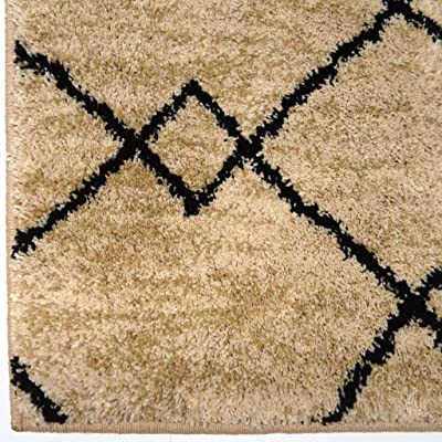 Carolina Weavers Soft Plush Collection Cross Between Tan Shag Area Rug (710 x