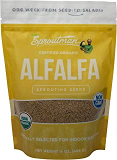 Sproutman 16oz Organic Alfalfa Sprouting Seed - Alfalfa Seeds for Sprouting, High Germination, Non-GMO, Certified Organic