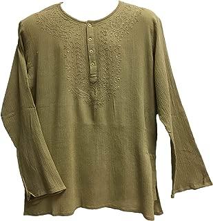 Mens Indian Bohemian Crinkled Gauze Cotton Embroidered Tunic Shirt Kurta Khaki