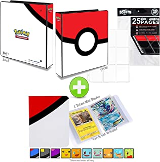 Totem World Poke Ball 3-Ring Binder with 25 9-Pocket Pages and a Mini Binder Collectors Album for Pokemon Cards