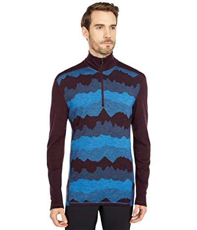 Smartwool Merino 250 Base Layer Pattern 1/4 Zip (Woodsmoke Mountain Scape) Men