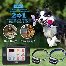 WIEZ Dog Fence Wireless & Training Collar Outdoor 2-in-1, Electric Invisible Wireless Fence w/Remote, Adjustable Range, Waterproof, Reflective Stripe, Harmless for All Dogs- 2 Collars