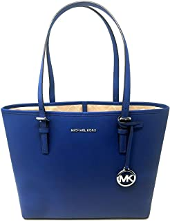 Michael Kors Women's Jet Set Travel, Saffiano Leather, Medium Carryall Tote - Sapphire