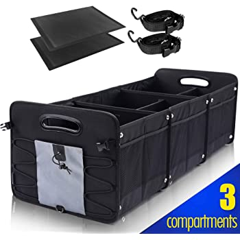 GEEDAR Large Trunk Organizer Car Organizers and Storage for SUV 3 Compartments Collapsible Portable Non-Slip Bottom Tie Down Straps (Gray)