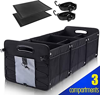 Car Trunk Organizer for SUV [3 Large Compartments] Collapsible Portable Non-Slip Bottom with Tie Down Straps (Grey)