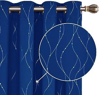 Deconovo Cortinas Opacas Telas Térmicas Aislantes Frio y Calor para Salon con Diseño de Líneas Plateadas 2 Piezas 140x290cm Azul Oscuro