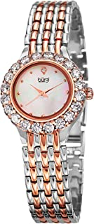 Women's Crystal Accented Watch - Mother of Pearl Dial Stainless Steel Bracelet - BUR107