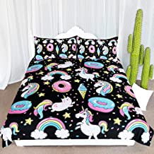 ARIGHTEX Chubby Unicorn Bedding Kids Girls Cute Unicorn in Rainbow Sprinkles Donut Pattern Duvet Cover 3 Piece College Dorm Sweet Bed Sets (Queen)