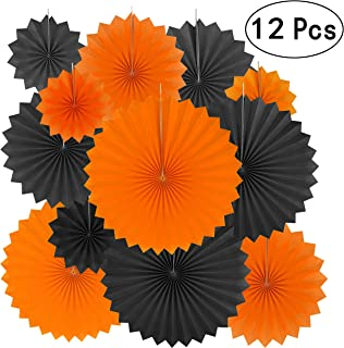Black Orange Party Hanging Decorations - Halloween Construction Zone Birthday Baby Shower Graduation Wedding Carnival Party Ceiling Hangings Photo Booth Backdrops Decorations, 12pc