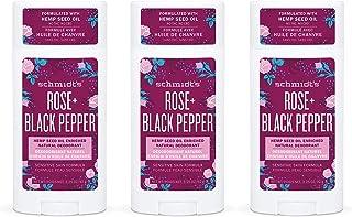 Schmidt's Aluminum Free Natural Deodorant for Women and Men, Rose + Black Pepper for Sensitive Skin with 24 Hour Odor Prot...