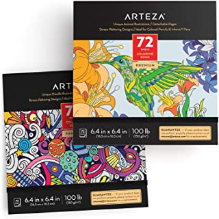 Arteza Doodle and Animal Coloring Books for Adults, 2, Black Outlines, 144 Relaxing Coloring Pages for Relieving Stress an...