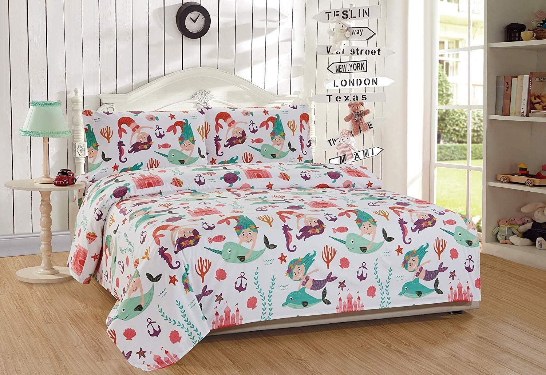 Elegant Home Multicolors Mermaid and Sea Life Design Fun Printed Sheet Set with Pillowcases Flat Fitted Sheet for Girls / Kids/ Teens Mermaid Sea Life (Mermaid Sea Life, Twin Size)