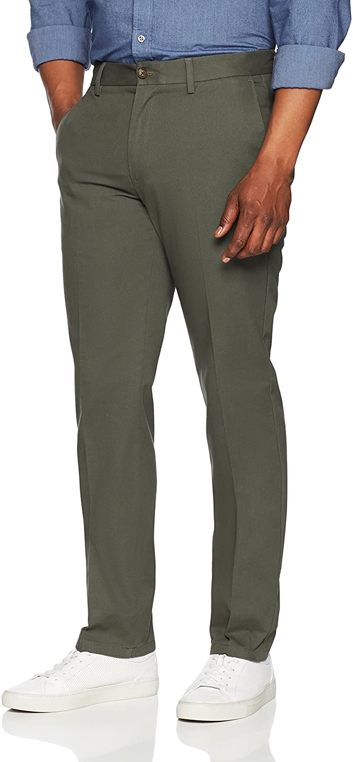 Essentials mens standard Slim-fit Wrinkle-resistant Flat-front Chino Pant