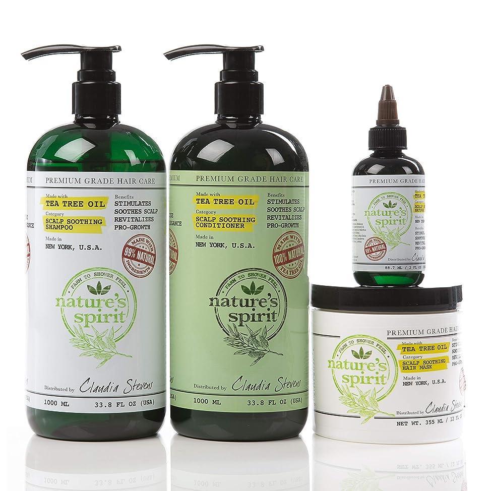 Nature's Spirit Tea Tree Oil Shampoo 33.8 oz, Conditioner 33 oz, Hair Mask 8 oz. and Hair Oil 4oz. (4-PIECE SET) - Dry Scalp Shampoo and Conditioner, Natural Tea Tree Oil Shampoo and Conditioner