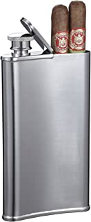 Visol Edian Stainless Steel 4-Ounce Hip Flask with Built-In Cigar Holder