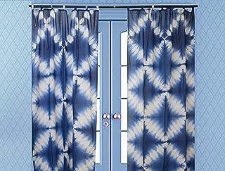 Indian Shibori Curtain, Indigo Sheer Curtain 63 Inches Long, Boho Cotton Curtain, Tie Dye Curtain for Living Room, Decorative Window Treatment Curtain,1 Panel Curtain (Pattern 6, 44 x 63 Inches)