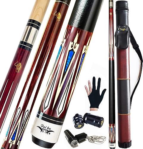 "Tai ba cues 2-Piece Pool cue Stick + Hard Case, 13mm Tip, 58"", Hardwood Canadian Maple Professional Billiard Pool Cue..."