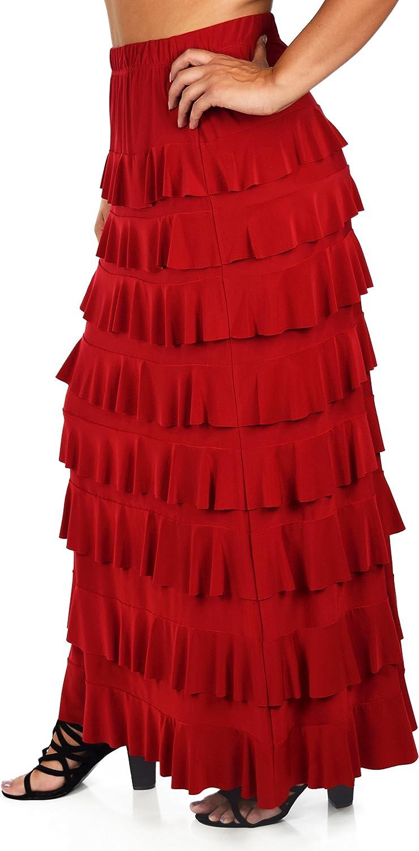 Dare2BStylish Women Waterfall 8 Tiered Boho Layered Maxi Skirt   Reg & Plus Sizes