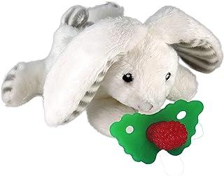 RAZBABY Razbuddy Razberry Teether/Pacifier Holder w/Removable Baby Teether Toy - 0M+ - Bpa Free - Bunny