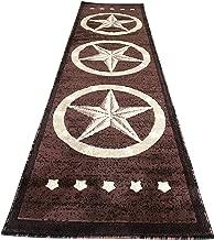 Texas Lone Star Runner Area Rug Dark Brown Beige Black Design 5457 (2 Feet X 7 Feet 3 Inch )