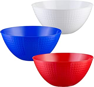 Set of 3 - Plastic Serving Bowls, Party Snack Salad Bowl, 80-Ounce, Red, Blue, white, July 4th Decoration Party Supplies, American Flag Bowls