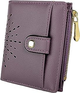 UTO Women's PU Leather RFID Blocking Wallet Card Holder Organizer Girls Cute Purse with Zipper Coin Pocket Purple