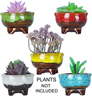 4 Inch Cute Modern Ceramic Round Small Succulent Cactus Planter Pot Tripod Mini Glaze Flowers Plant Containers Tiny Pots with Drainage Perfect for Desk or windowsill Pack of 5