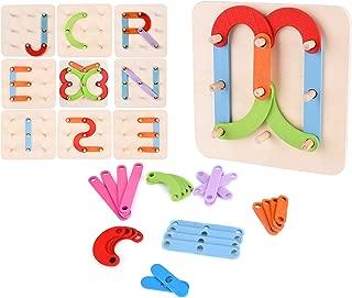 JCREN Wooden Letter Number Construction Shape Puzzle Educational Stacking Blocks Toy Set Shape Color Pegboard Activity Board Sort Game for Kids Toddler Gift Fine Motor Tool Learning STEM Toy