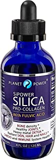 SiPower Silica Vegan Collagen + Fulvic Acid 4oz Glass Bottle, Immune System, Maximum Absorption – Concentrated Formula, Bo...