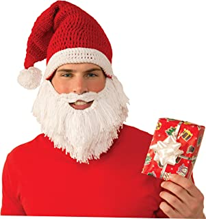 Forum Adult Santa Knit Hat with Attached Beard and Moustache Costume Accessory