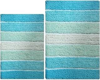 100% Pure Cotton - 2 Piece Cordural Stripe Bath Rug Set, (21''x34'' & 17''x24'') Aqua Turquoise with Latex spray non-skid backing