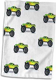 3D Rose Print of Cute Monster Trucks Repeat Pattern TWL_212610_1 Towel, 15