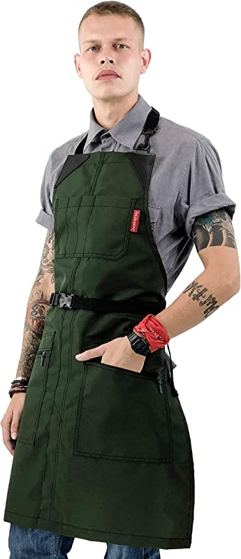 No Tie Barber Green Apron Coated Heavy Duty Nylon Water And Chemical Resistant Zipped Pockets Split Leg Adjustable For Men Women Pro Hair Stylist Colorist Artist Bartender